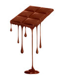 Chocolate dripping from chocolate bar isolated on white Royalty Free Stock Photos