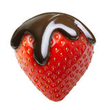 Chocolate drop on red berry strawberry Royalty Free Stock Photography