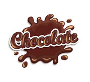 Chocolate drops and blot with lettering. Vector illustration of chocolate drops and blot with lettering . Sweet and stain and shape Stock Photography