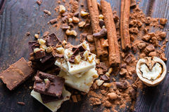 Chocolate dusted with cocoa and nuts Stock Photos
