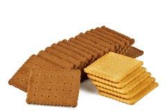 Chocolate e cookies brancas do biscoito Fotografia de Stock Royalty Free
