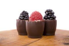 Chocolate e fruta fotografia de stock