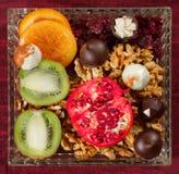 Chocolate e frutos 2 Imagem de Stock Royalty Free