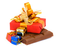 Chocolate e presentes Imagens de Stock