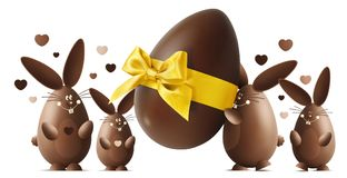 Chocolate Easter bunnies with egg and golden ribbon bow isolated vector illustration