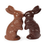 Chocolate Easter bunnies kissing Stock Image