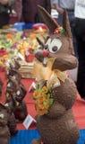Chocolate easter bunny. Chocolate easter bunnies on sale Stock Photo