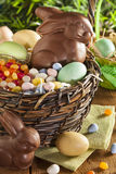 Chocolate Easter Bunny in a Basket Royalty Free Stock Images