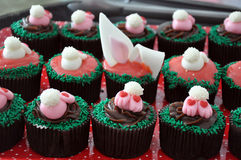 Chocolate Easter Bunny Cupcakes Stock Image