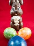 Chocolate easter bunny and eggs. Easter tradition Stock Image