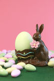Chocolate Easter Bunny Holding Egg Royalty Free Stock Images