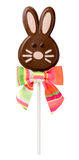 Chocolate Easter Bunny Lollipop. With a clipping path, isolated on white. The isolation is on a transparent background in the PNG format Royalty Free Stock Photography