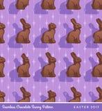 Chocolate easter bunny seamless pattern Stock Photos