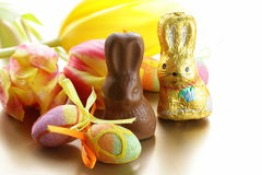 Chocolate Easter bunny (sweets) Royalty Free Stock Photography