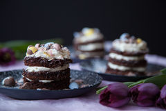Chocolate Easter Cakes with Honey Mascarpone Stock Photos