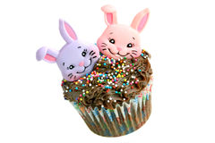 Chocolate Easter Cupcake with two bunnies Royalty Free Stock Images