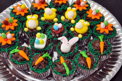 Chocolate Easter cupcakes Royalty Free Stock Photos