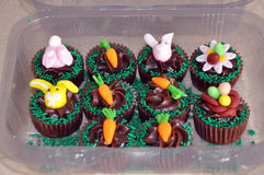 Chocolate Easter cupcakes Stock Photos