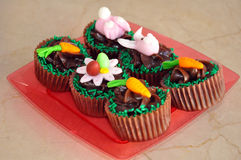 Chocolate Easter cupcakes Stock Images