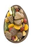 Chocolate Easter Egg. Open chocolate Easter egg - top view stock image