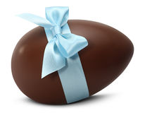 Chocolate Easter Egg with blue ribbon Bow on white back Royalty Free Stock Photography