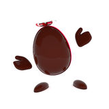 Chocolate Easter egg with a bow Stock Photo