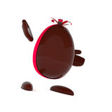 Chocolate Easter egg with a bow Royalty Free Stock Photos