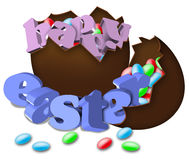 Chocolate Easter egg broken. With 3D text and colorful candies Royalty Free Stock Photos