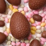 Chocolate easter egg. Top view Stock Photos