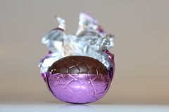 Chocolate easter egg close-up Royalty Free Stock Photography