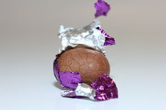 Chocolate easter egg close-up Stock Photo