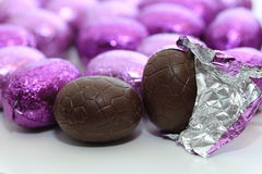 Chocolate easter egg close-up Stock Image