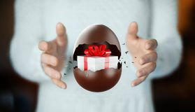 Chocolate Easter egg with surprise, gift box inside. Chocolate easter egg, 3d render illustration vector illustration