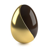 Chocolate easter egg with golden decoration. On white background - 3d render Stock Images