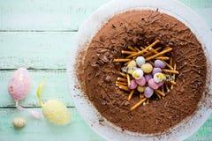 Chocolate Easter egg nest cake Royalty Free Stock Image