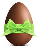 Chocolate Easter Egg with ribbon Bow isolated on white bac Stock Photos