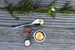 Chocolate Easter egg, spoon with yolk and shell. Chocolate Easter egg next to spoon with yolk and chocolate shell on the wood background with flowers Stock Image
