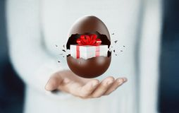 Chocolate Easter egg with surprise, gift box inside. Chocolate easter egg, 3d render illustration stock illustration