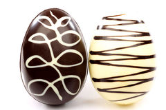 Chocolate easter eggs. White and brown decorated chocolate easter eggs Stock Images