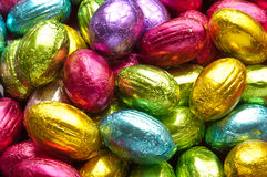 Chocolate easter eggs. Colorfull chocolate easter eggs good for a background Royalty Free Stock Images