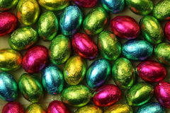 Chocolate easter eggs. Stock Photos