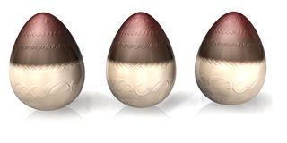 Chocolate Easter Eggs. 3d chocolate easter eggs isolated over a white background vector illustration