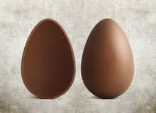 Chocolate Easter eggs on brown background Royalty Free Stock Photography