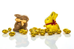 Chocolate easter eggs and bunnies Royalty Free Stock Images
