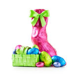 Chocolate easter eggs and bunny Stock Photo