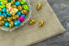 Chocolate easter eggs and bunny Stock Photos