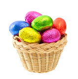 Chocolate easter eggs in colorful foil Royalty Free Stock Photos