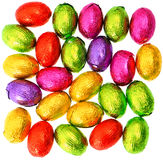 Chocolate easter eggs in colorful foil Stock Photography