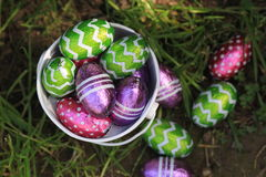 Chocolate Easter eggs in colorful foil Royalty Free Stock Photography