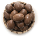 Chocolate Easter eggs in a crafted wooden bowl isolated Stock Photos